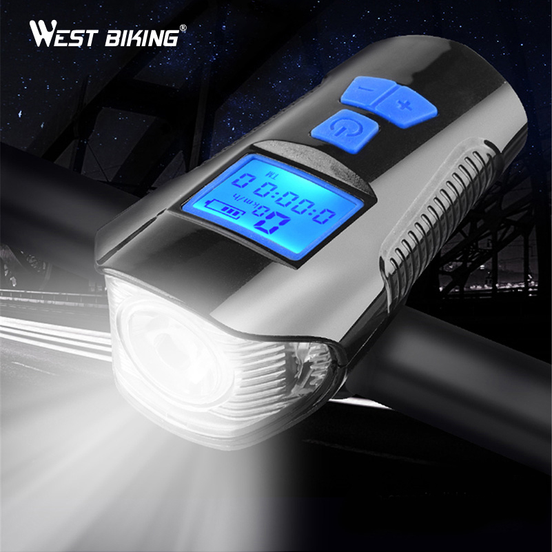 Waterproof Bicycle Light USB Rechargeable Bike Front Light Flashlight With Bike Computer LCD Speedometer Cycling Head Light Horn