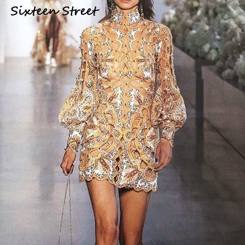 2019 nouveau automne femme robe à manches longues gothique imprimé doré évider col roulé piste vintage robe vestidos robe femme