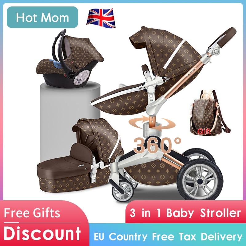 Bébé poussette 3in1 or cadre PU 75 cm haut paysage 360 degrés rotatif réglage et couché mode maman chaude bébé poussette
