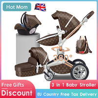 Baby stroller 3in1 Gold frame PU 75cm high landscape 360 degree rotatable adjustment and lying mode Hot mom baby stroller