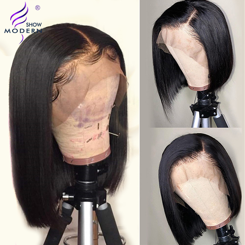 Peruvian Lace Front Short Bob Wigs With Baby Hair Pre Plucked Human Hair Wig Middle Part 12