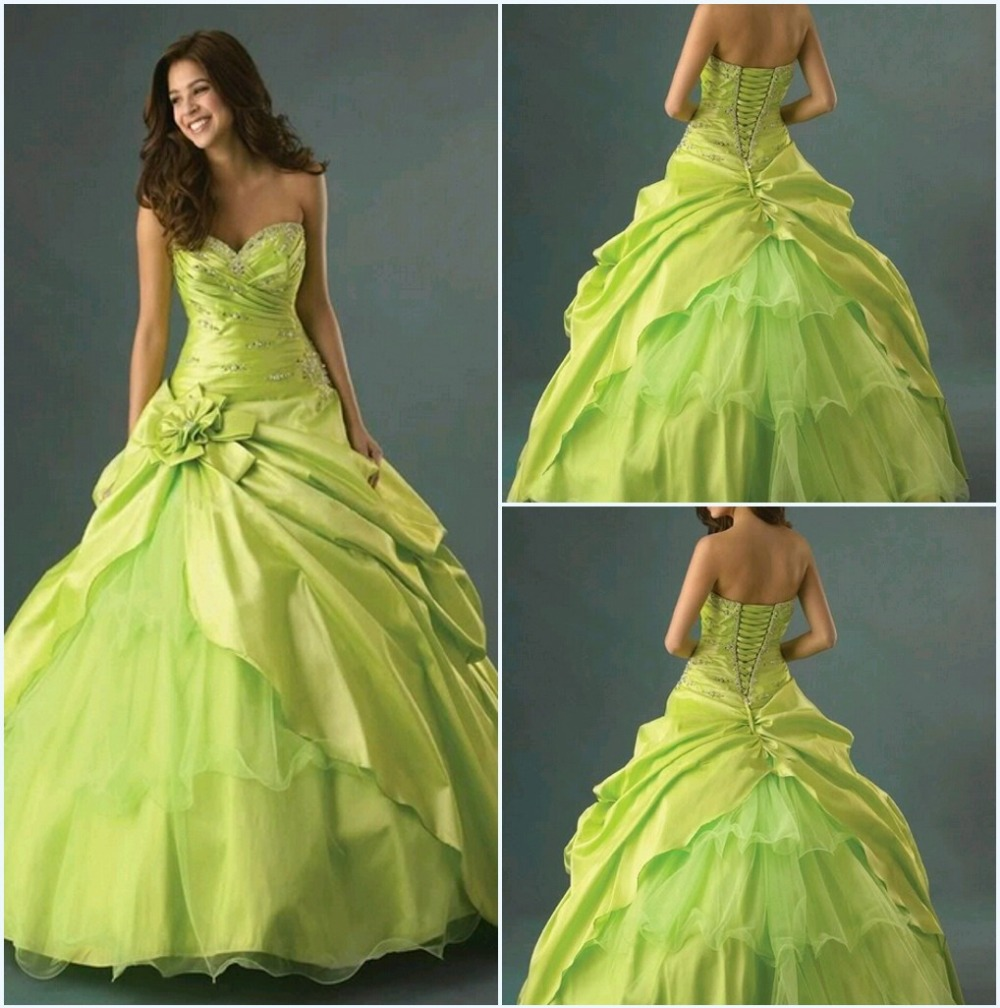 2015 Cheap Green Sweetheart Quinceanera Dresses With Beading ...
