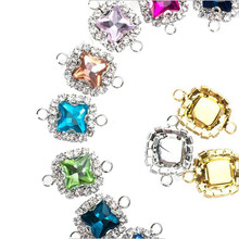 10pcs Bohemian Square Crystal Glass Beads Silver Gold Base Double Rings Pendant for Earrings Charm Bracelets Connector Jewellery