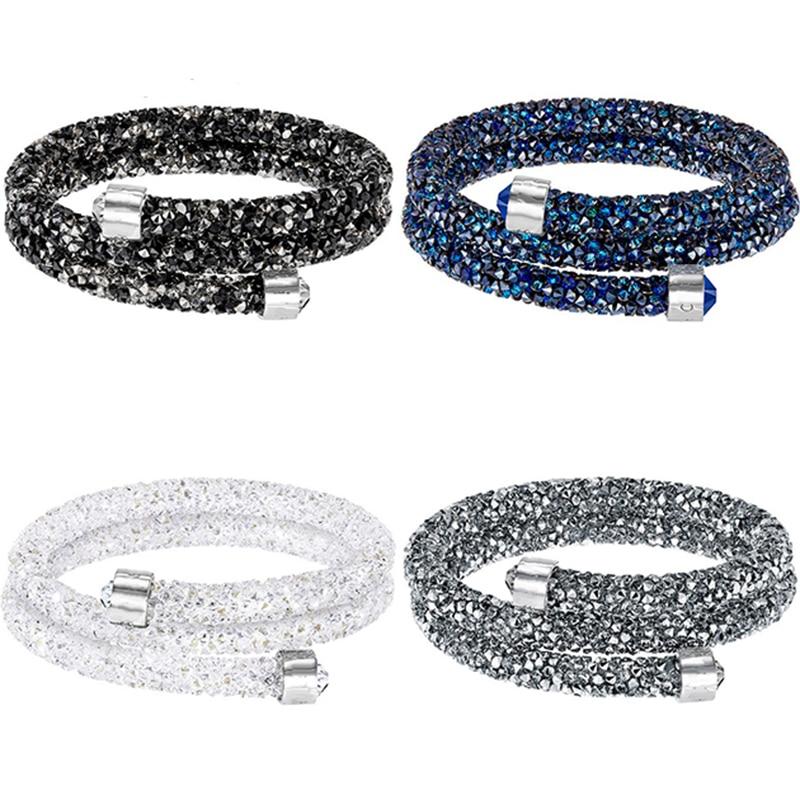 SWAQ2018 SWA 100% 925 Sterling Argent Original Copie A LOGO Classique Coeur Chaîne Bracelet Dames bijoux en Perles de BRICOLAGE