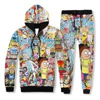 PLstar Cosmos Harajuku Style Cartoon Rick And Morty Crewneck Sweatshirt 3d Print Women Men Hooded Sweatshirts