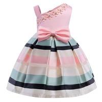 2017 Elegant Kids Girls Dresses Stripe Sleeveless Tutu Dress Wedding Pageant Outfits Princess Party Dress Girls