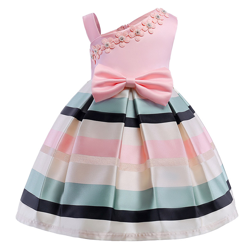 2018 Elegant Kids Girls Dresses stripe Tutu Dress Wedding Pageant Outfits Princess Party Dress Girls Clothes For 2-10 Y clothing winter girls dress for girls party dress 2018 hot elegant princess tutu dress warm kids girls clothes baby chilren dresses 2 6y