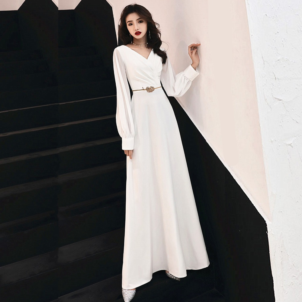 Elegant Muslim Evening   Dresses   2019 A-line Long Sleeves Chiffon Islamic Dubai Saudi Arabic Long   Prom     Dress   White And Gold Belt