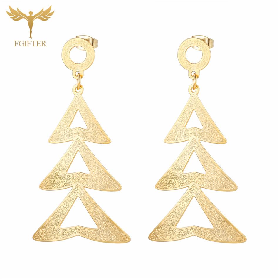 FGifter Christmas Jewelry Golden Christmas Tree Pendant Hanging Earrings Women Oorringen ...