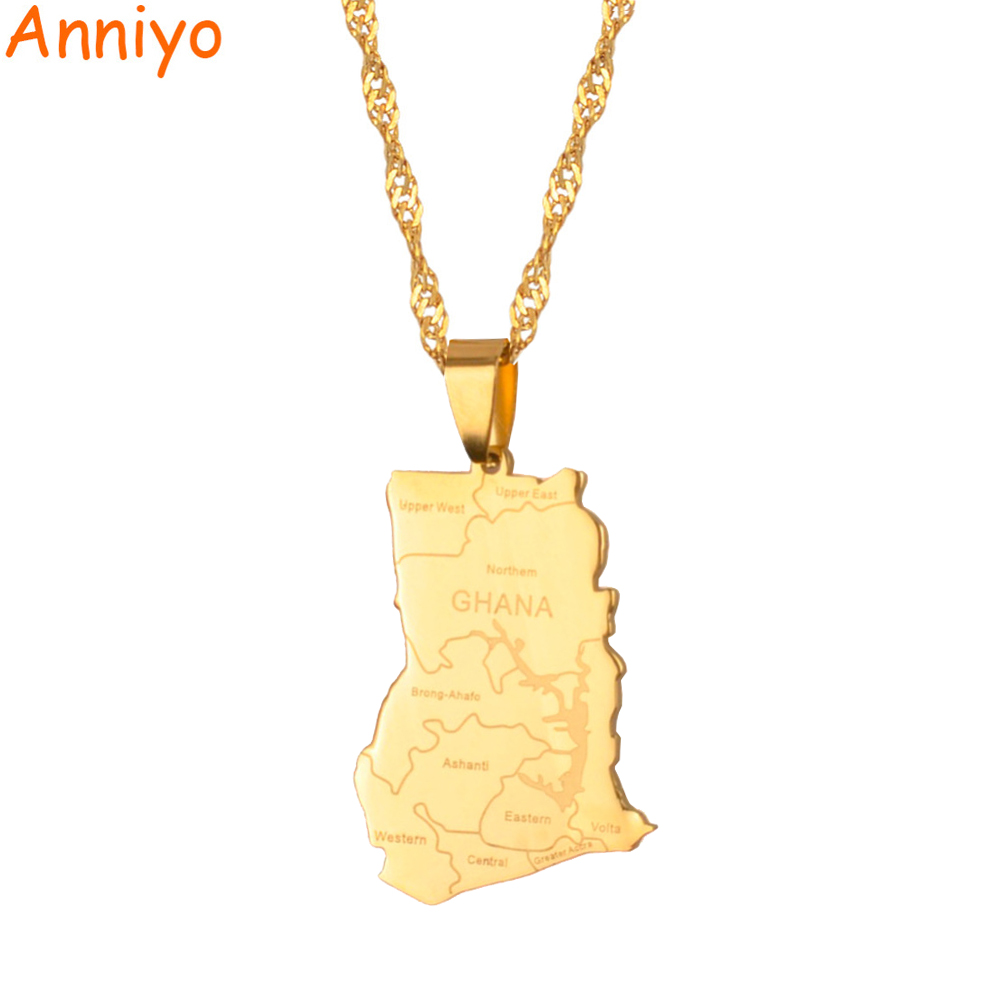 Anniyo Gold Color Ghana Country Map With State Name Pendant Necklaces Charm Ghanaian Jewelry Gifts #019821 derick sule radiographer role extension way forward among ghanaian radiographers