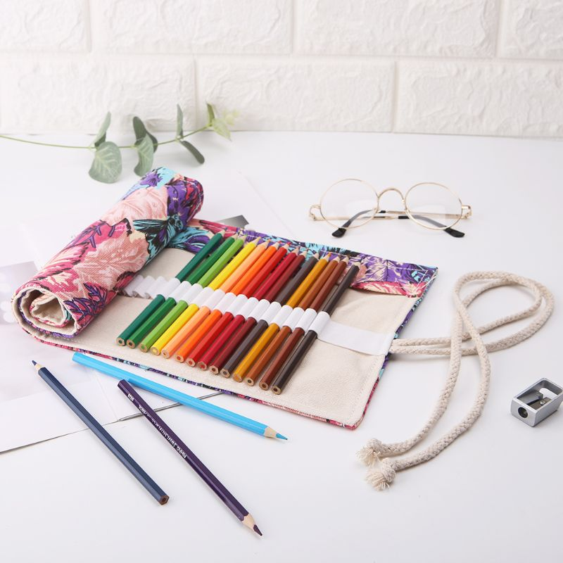 1Pc Maple Leaf 12/24/36/48/72 Holes Canvas Roll Up Makeup Pencil Bag Wrap Curtain Pen Case Holder Storage Pouch School Supplies