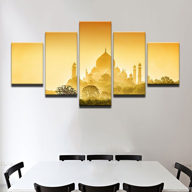 Wall Art Pictures Home Decoration Posters Unframed 5 Panel Taj Mahal ...
