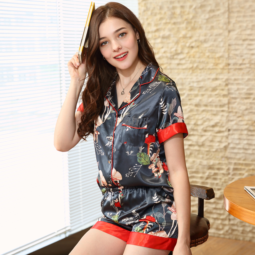 c4dbfe3565 Summer Style Fashion Women Pajama Sets 2018 New Faux Silk Pajamas Ladies  Shirt Short Suit Sleep Lounge Girl Home Clothing TZ587-in Pajama Sets from  ...