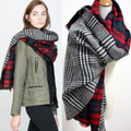 women brand scarf Fashion Winter Wool Blend Thicken Warm Soft Scarf houndstooth plaid scarf