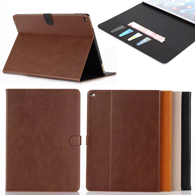 Luxury Crazy Horse PU Leather Case Funda Flip Cover Cases For Apple iPad Pro 12.9inch with Stand Tablet Accessories case for funda ipad pro 12 9 luxury business leather case tablet 12 9 inch wake up hand belt holder stand flip bags alabasta