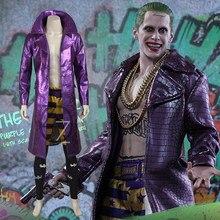 3a3fa3816 DC Comics Samobójstwo Squad Joker Cosplay Dorosłych Mężczyzn Kostium  Płaszcz Batman Joker Wykop Strój Halloween Odzież dla Mężcz..