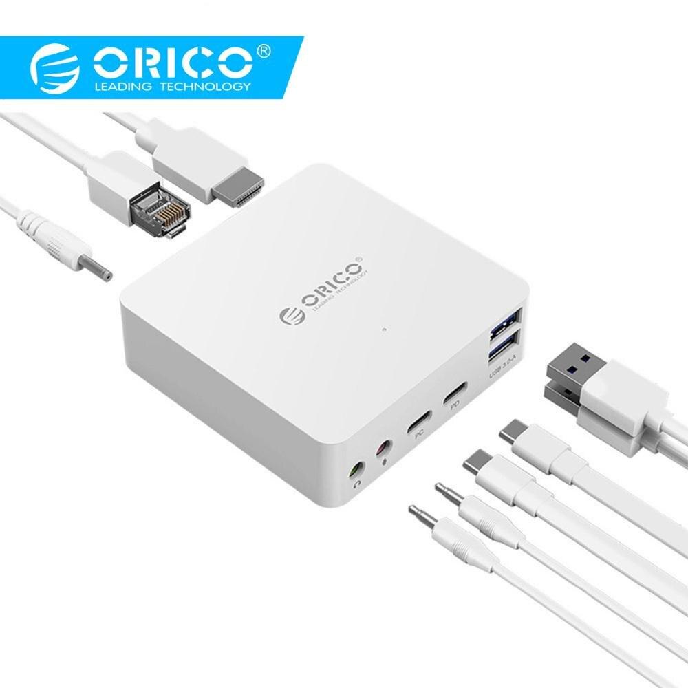 Station d'accueil multifonction ORICO pour ordinateur portable TYPE-C vers HDMI 4 K/Microphone/RJ45/USB3.0-A * 2/station d'accueil Audio type-c PD