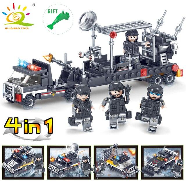 363 piezas estación de policía SWAT militar serie 3D modelo bloques de construcción  DIY camión blindado 5283c138bc7