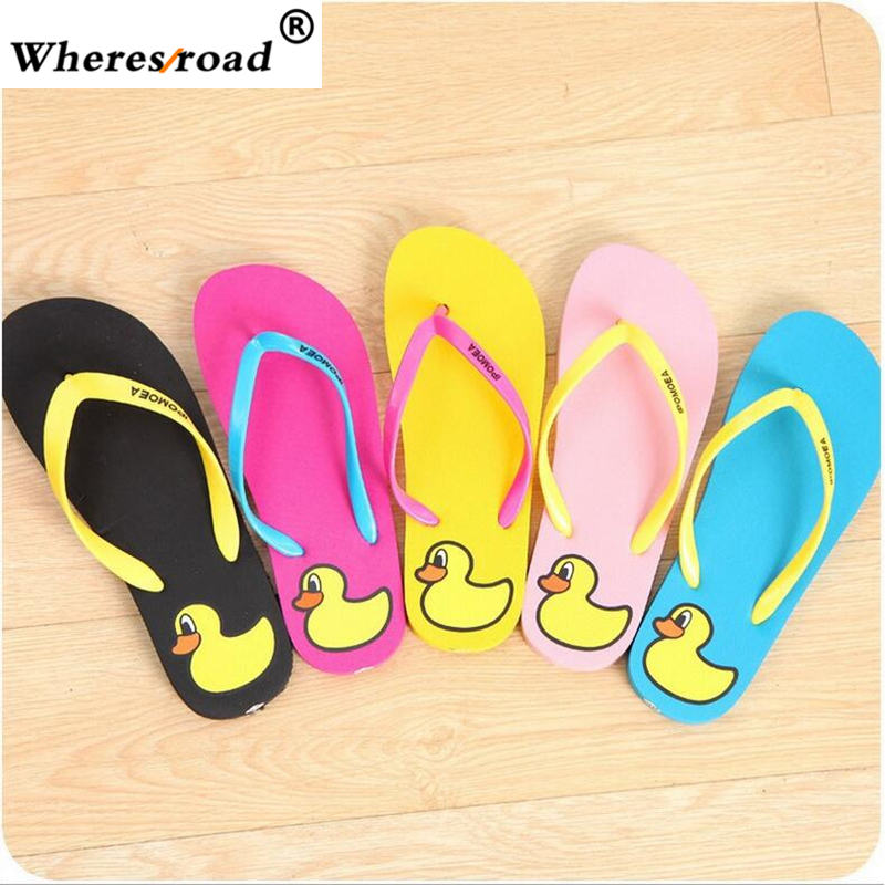 On Sale Wheresroad Women Fashion Slippers Duck Comfortable Light Women's Shoes Indoor Free Slippers