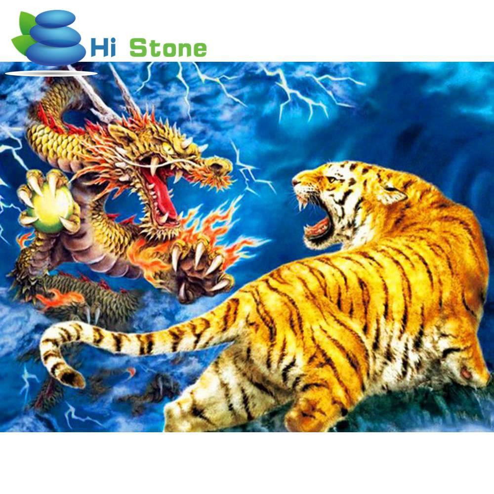 Алмазный Вышивка крестиком комплекты Дракон и тигр 5d diy Алмаз Картина мозаика украшения дома подарки