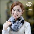 Free Shipping CDS072 2014 Hot item short knitted rex rabbit fur scarf women with ball button in winte