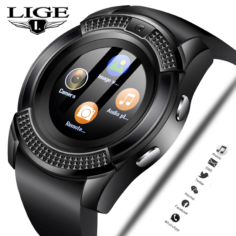 LIGE 2019 New Smart Watch Men Fashion Sports Pedometer Clock Fitness Watch Information Reminder Support sim card Relogio +Box
