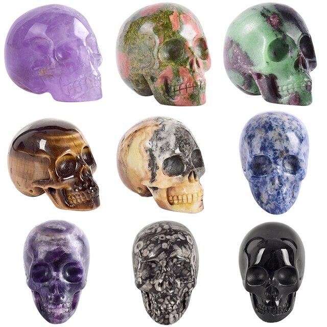 2 pollici A Mano in pietra Naturale del cranio figurine di Cristallo Intagliato