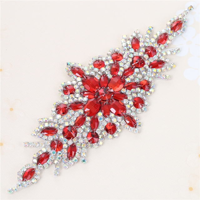 (30pieces) Wholesale Hotfix AB Crystals Red Color Rhinestone Sequin Applique  for Garment Dresses Headband Bridal Garters c7ed202eb091