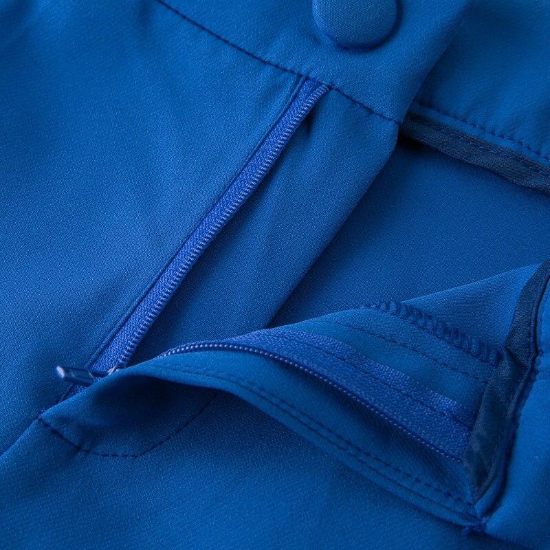 Ellacey Nuovo Ufficio Della Signora 2 Pezzi Set delle Donne Professionali Vestito di Pantaloni Giacca Sportiva Uniforme Rosso Blu di Affari Formale Vestito con pantaloni - 6