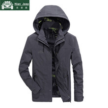2018 Windproof Jacket Men AFS JEEP Brand Spring Autumn Outwear Mens Military Jackets veste homme Casual Hooded Collar Size M-4XL(China)