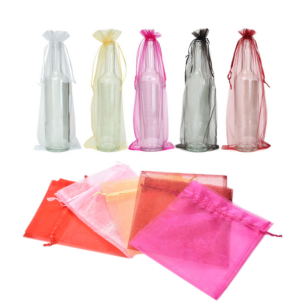 10 Pcs/lot Organza Wine Bottle Bags Storage Bag For Christmas Wedding Party Gift Packaging Home Decoration Supply 37x15cm