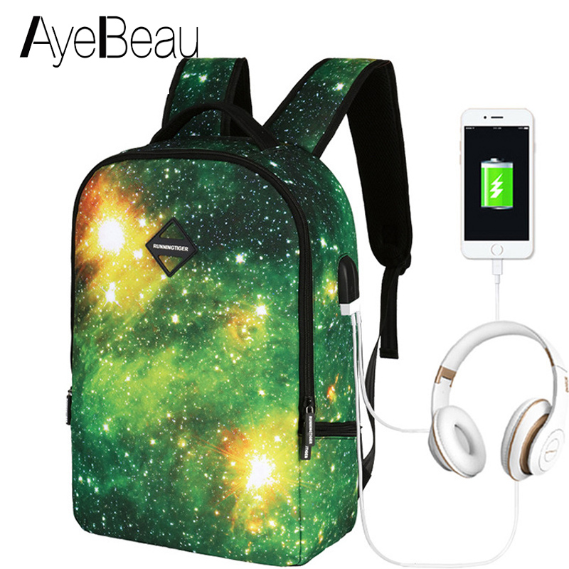 Schoolbag Bagpack Portfolio School Bag Teen Printing Usb Backpack Space With Charging Female Women For Kids Boys Girls Teenagers