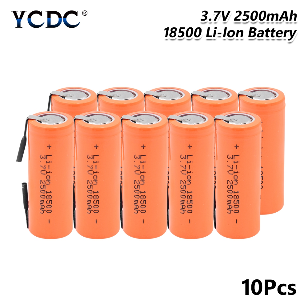 Rechargeable <font><b>18500</b></font> Lithium <font><b>Battery</b></font> <font><b>3.7V</b></font> 2500mAh <font><b>Batteries</b></font> with strips soldered for screwdrivers high current + DIY nickel image