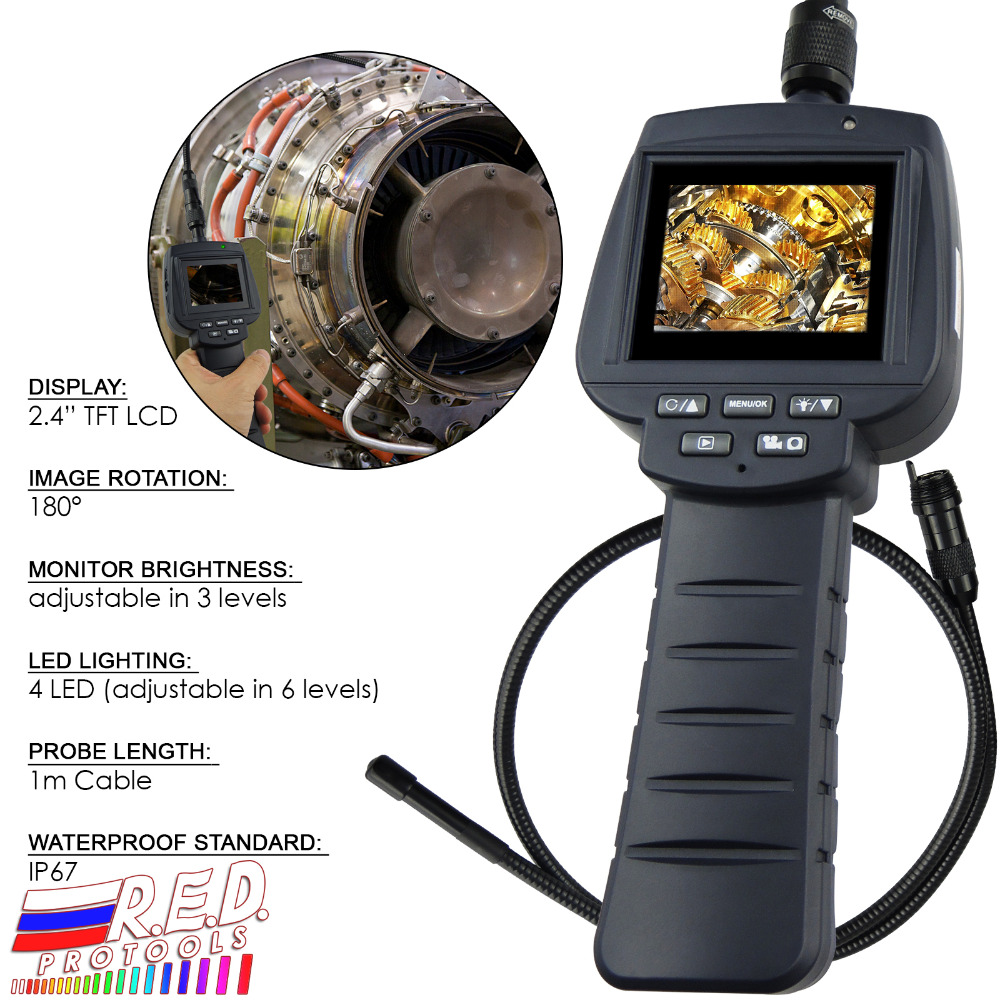 Recordable 9mm Inspection Camera Endoscope 4 LED 1M Cable 2.4 HD Monitor Borescope, 2GB Card, IP67 Scope, Video RecordingRecordable 9mm Inspection Camera Endoscope 4 LED 1M Cable 2.4 HD Monitor Borescope, 2GB Card, IP67 Scope, Video Recording