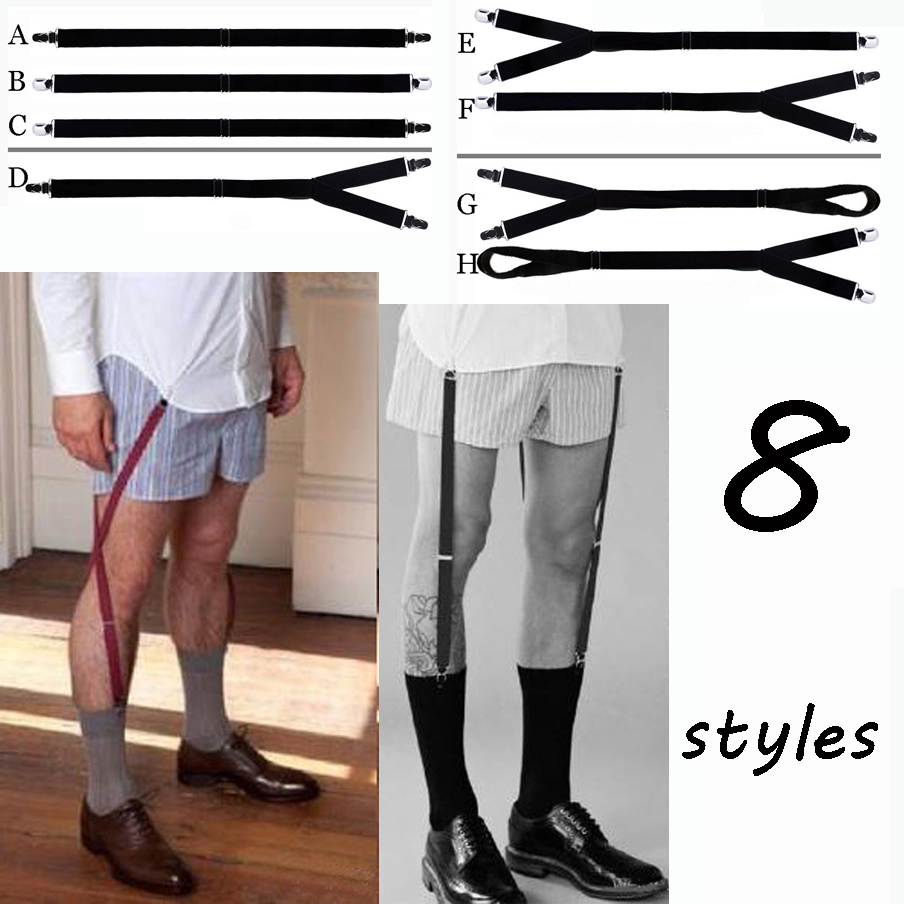 Apparel Accessories 1 Pair Fashion Elastic Adjustable Legs Belts Suspenders For Men Shirt Holders Suspenders Mens Clothes Accessories Men's Accessories