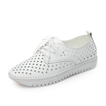 Vulcanized Shoes 2019 Spring Summer Genuine Leather White Sneakers Women White Shoes Fashion Lace-up Hollow Out Women Trainers weideng casual women genuine leather flats vulcanized shoes sneakers schoolfashion white lace up slip on women shoes summer 2018