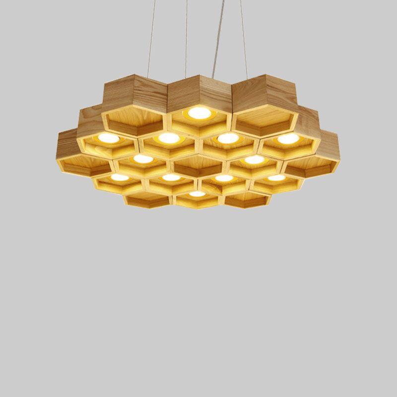 Honeycomb Pendant Light: Designer's Choice Wood Honeycomb Pendant Light Nordic