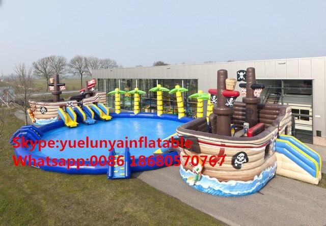 Завод прямого надувной замок слайды Бассейн слайд, большой водный парк Большой бассейн Ocean World корабль бассейн KY-721