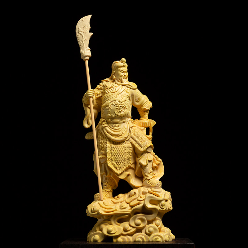 Force God BIG Knife Guan Gong statues Buxus Wood Statue Home decors Room Solid Wooden Guanyu Lucky Fortune Decoration Crafts in Statues Sculptures from Home Garden