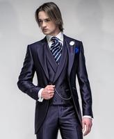 Latest Coat Pant Design Italian Purple Satin Men Suit Jacket Slim Fit 3 Piece Tuxedo Custom Groom Suits Prom Blazer Masculino 07