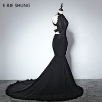 E JUE SHUNG Black Lace Appliques Mermaid Evening Dresses Long 2018 High Neck Backless Prom Dress Formal Dresses Evening Gowns