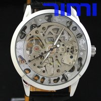 Wholesale Silver Mens Skeleton Mechanical Automatic Watch SALE Freeship