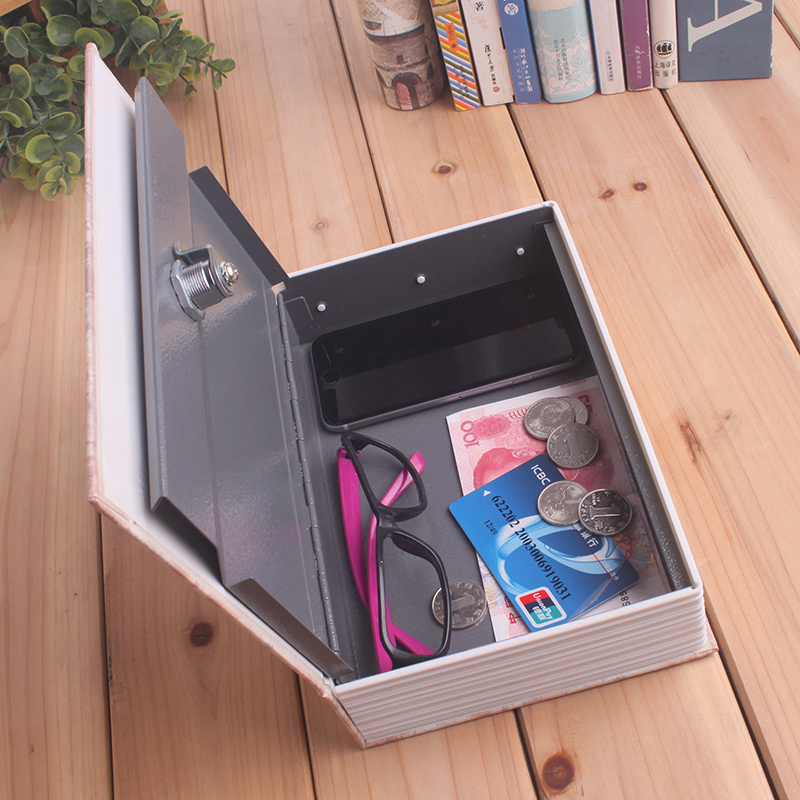 Book Safety Deposit Money Storage Box for Cash Jewelry Large Metal Piggy Bank keylock Safe Box SB-C