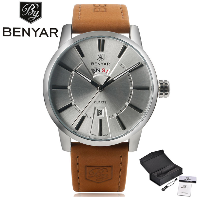 BENYAR Luxury Classic Business Men's Quartz Wristwatch Genuine Leather Band Gray Date Dial Display Male Watch Reloj masculino digu working sub dial male quartz business watch leather band round dial