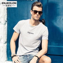 Enjeolon brand 2017 short sleeve print t shirt men cotton O collar clothing base fit black