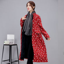 Womens Cheongsam National Long Windbreaker Blouse Coat Thicken Cotton-padded Outwear Stand Collar Loose Print Caftan Dress C10