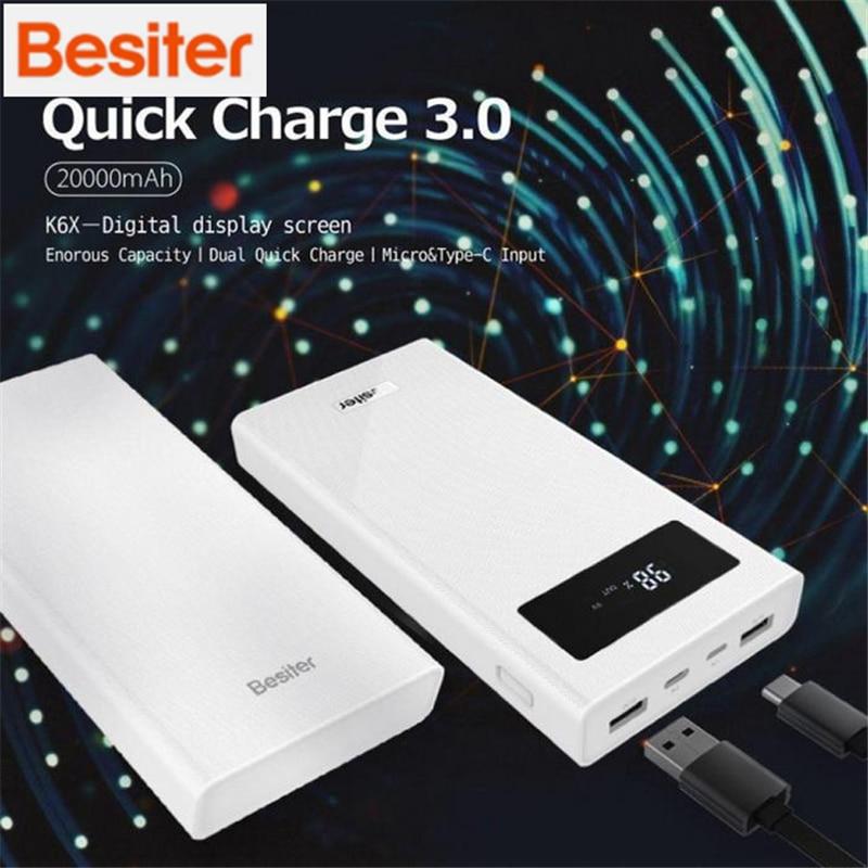 Besiter Charge rapide 3.0 Numérique 20000 mAh batterie externe Charge de Puissance Mobile Batterie borne chargeuse portable batterie externe Pour Xiaomi