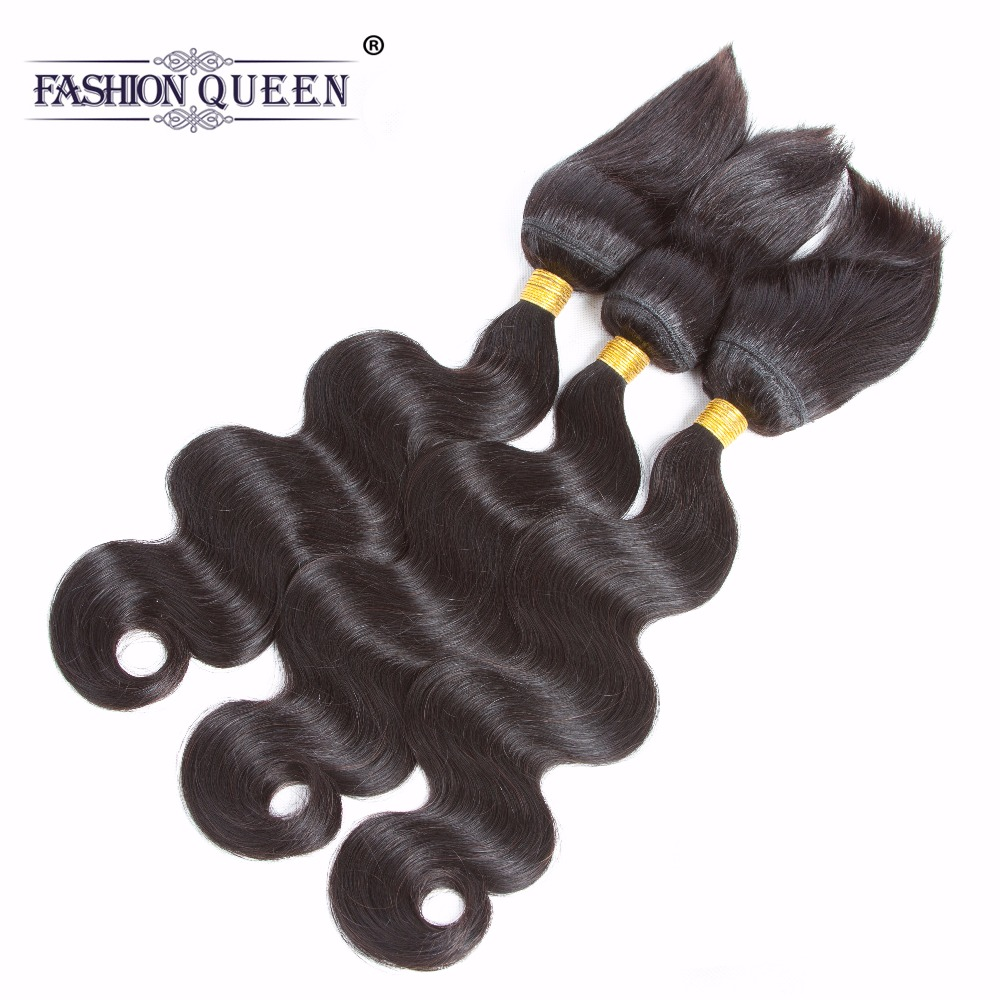 Fashion Queen Braid in Bundles Malaysia Human Hair Body Wave 3 Bundles 120g/Pc No Glue No Thread Braid in Human Hair Extension ...