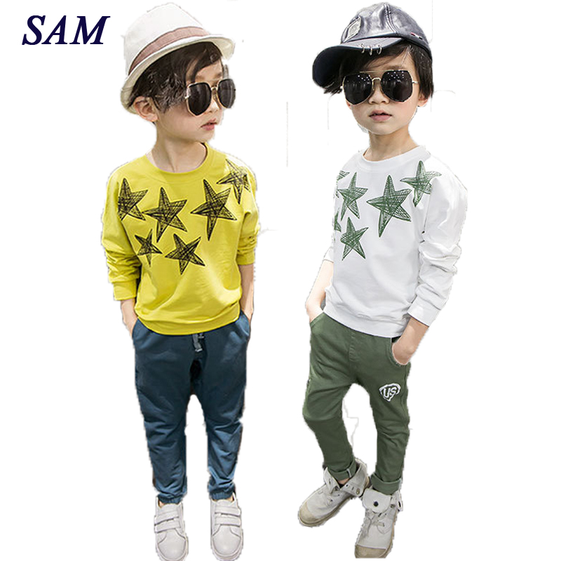 2018 new autumn fashion boys Sweater children's print star long sleeve t shirt kids cotton o-neck solid clothes цены