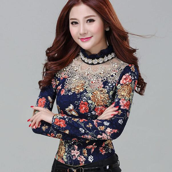 051bcfe03e3 2018 Women Floral Lace camisa feminina girl long sleeve blouse Diamond  beaded lace shirt tunique femme Plus Size women clothes-in Blouses   Shirts  from ...